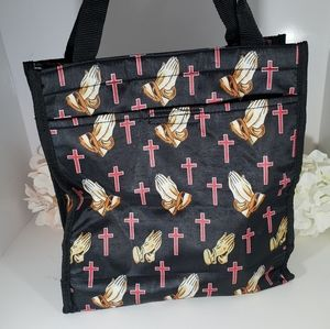 Praying Hands Black Canvas Tote Bag